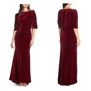 Eliza j velvet cape gown wine